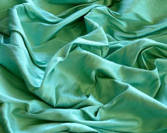 "Seafoam Green Dupioni Silk, 100% Silk Fabric, 44"" Wide or 54"" Wide, By The Yard (S-109)"