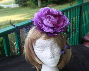 Purple Begonia Fascinator