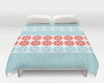"SALE -25% Duvet Cover Turquoise Coral Red 88""x88"" Turquoise flowers duvet 224x224 cm other sizes available"