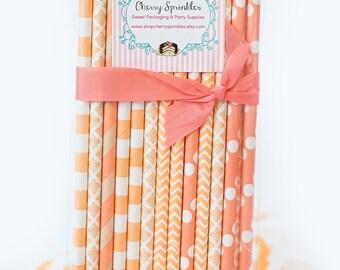 Coral Straws / Paper Straws / IVORY and PEACH Straws / Coral and Peach Party Supplies / Coral Wedding / Peach Wedding / Peach Bridal Shower