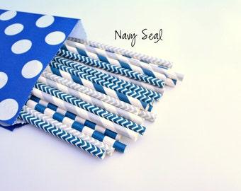 Navy Blue Straws -NAVY -Paper Straws, Birthdays, Wedding, Baby Shower, SILVER -Boy Party -Baby Shower -Blue Straws, Silver Straws, Supplies