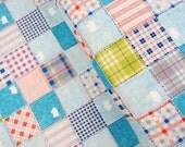Pig Checkered(Light Blue) - Double Gauze - Pop n'Kids - Lecien - Japan, Inc