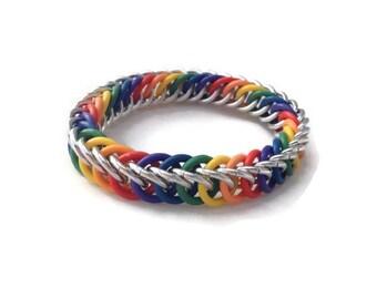 Children's Rainbow Bracelet - Kids' Chainmaille Bracelet - Children's Bracelet