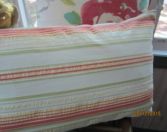 Summer striped cotton throw pillow with citrus colors on white 12 x 20""