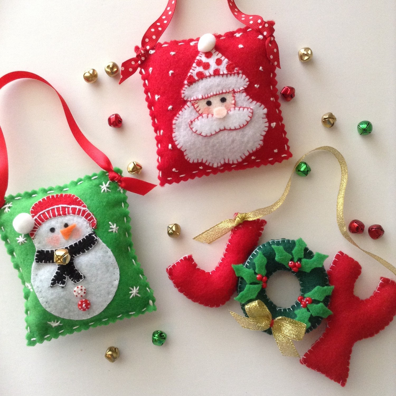 Christmas Felt Ornaments Christmas Tree Decor Set Of 3
