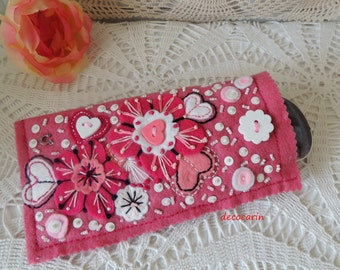 Felt Glasses Case, Sunglasses Case, Spectacle Case, Glasses Cover, Embroidered, Gift Mother's Day Birthday, Car Accessories, Felt Ornaments