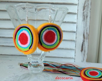Boho Birthday Gift for her, Felt Earrings, Felted Earrings, Felt Jewelry Jewellery, Felted Jewelry, Felt Decor, Boho Jewelry, Boho Earrings