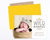 Birth Announcement - Let the Wild Rumpus Start in Gray & Yellow - Where the Wild Things Are