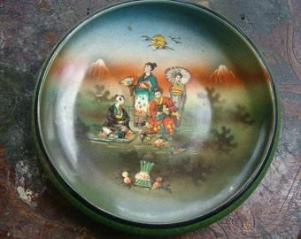 Art Nouveau Czech Hand Painted Porcelain Low Bowl Oriental Geisha Girls Mount Fuji Puzzle Piece Air Brush Antique Bohemian Czechoslovakia
