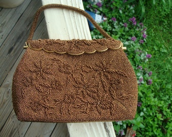 Ladies Vintage French Copper Bead Beaded Couture Clutch Purse Handbag Raised Floral Relief