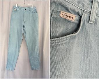 Vintage Jeans Mint Green Pastel Denim Wrangler Women's 14 x 34 long