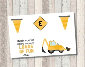 Construction Birthday Party Favor Bag Topper