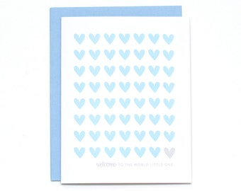 Baby Boy Card, Baby Card, Boy Baby Card, Blue Baby Card, Welcome Baby Card, Congrats New Baby Card, Baby Hearts Card, New Baby Card (#BBY10)