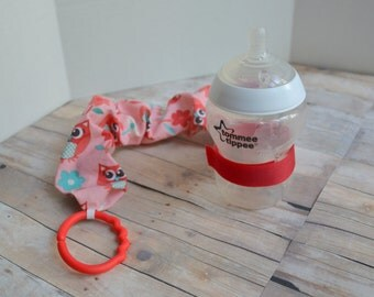Pink Owl Print Sippy, Bottle, or Toy Leash; Bottle Bungie, Girls Sippy Strap,