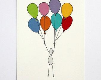 Birthday card | Balloon men | Postcard | Card | Illustration | Hand drawn | Happy day