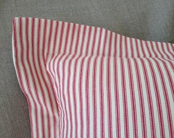 "20""x 26"" Red Ticking Pillow Sham with 2"" flap border -Standard bed pillow sham"