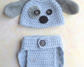Puppy Hat and Diaper Cover - Baby Puppy Photo Prop Set - Newborn Hat and Diaper Cover - Puppy Hat - Newborn Photo Prop outfit - take me home
