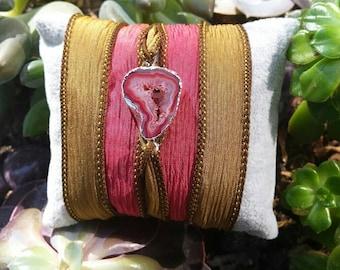 Agate geode silk handpainted wrapbracelet