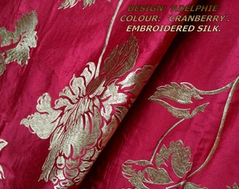 """1 Pair 'Adelphie' Cranberry, embroidered SILK, interlined curtains, to fit 5ft pole/track. 46""""W x up to 90""""D. Made to measure bespoke luxury"""