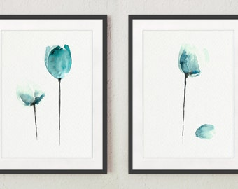 Tulips Set of 2, Watercolor Illustration, Abstract Flowers, Art Gift Ideas, Teal Tulip Floral Giclee Art Print