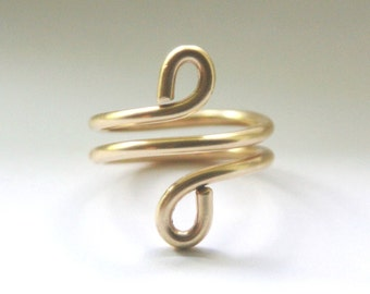 Gold Copper Spiral Ring.Custom Size Hand Forged Bronze Metal Egyptian Ring.Upcycled Bronze Metal Anniversary Bridesmaid Wedding Gift Jewelry