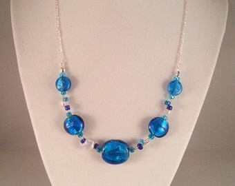 Turquoise Glass Bead Necklace with Aurora Borealis Star
