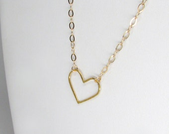 gold heart necklace, delicate gold heart charm necklace, gold vermeil heart hammered necklace, heart pendant gold necklace, heart charm