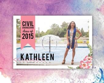 4x6 Printable Graduation Announcement Customizable Photo Card - Pink Floral