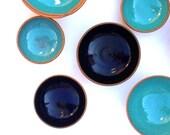 Handmade Ceramic Ring Bowls - Pottery Bowls - Turquoise - Ceramic Bowls -Prep Bowls - Dipping Bowls - Ring Dish - Salt Cellar - Trinket Dish
