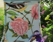 Fabric lampshade: midsized shade features sweet blue birds, pink roses, white hygrangeas and LOTS of robin's egg blue! Classic cottage chic!