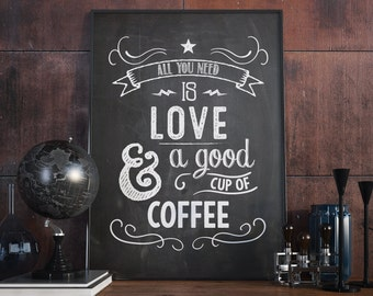 Vintage love and coffee poster.