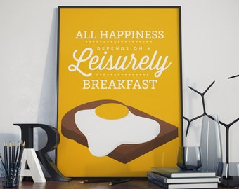 Breakfast quote, Egg Print. A3 Poster.