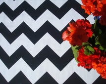 "Black & White Chevron Tablecloth; 57"" Square / Round Cotton Tablecloth; Modern Tablecloth; Geometric Table Linens; Custom Table Runners"