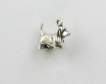 Sterling Silver 3D Miniature Basset Hound Charm - dc76
