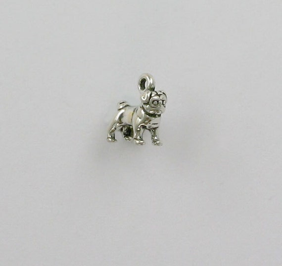 sterling silver 3d miniature pug charm dc67