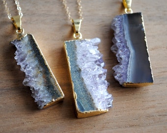 """Amethyst Slice Necklace - Raw Gemstone Pendant - Gold Plated on 18"""" 14K Gold Filled Chain, Purple Stone Gold Edged Necklace"""