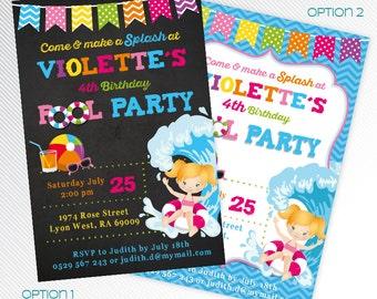 Pink Pool Party invitation, Birthday pool party invite, Summer pool invitation, photo invitation, printable invitation, digital invitation
