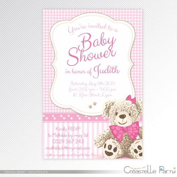 Pink Teddy Bear Baby Shower: Pink Teddy Bear Baby Shower Printable Invitation