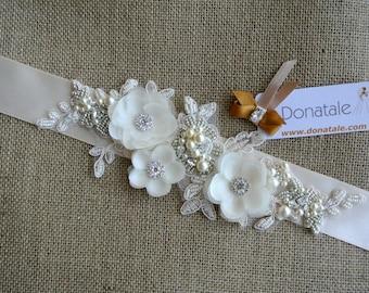 Champagne Bridal Belt - Pearl Crystal Bridal Sash - Hand Beaded Vintage style   - VENERA