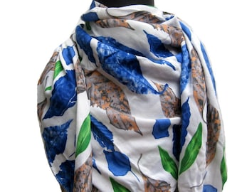 Multicolored scarf/ cotton rayon scarf/ fashion scarf/ leaf print scarf/ gift scarf / for her/ gift ideas.