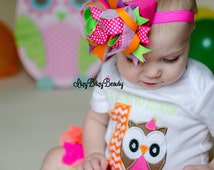 Bright summer owl first birthday outfit ribbon tutu headband neon