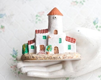 Miniature Clay Houses - Souvenir from Menorca Spain - Wall Hanging Folk Art
