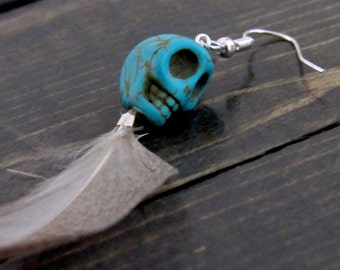 Turquoise Skull & Feather Earrings