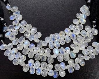 Big Sale 40% Off Full 6 Inch Strand Fine Quality RAINBOW MOONSTONE Gemstone Smooth PEAR Briolette.