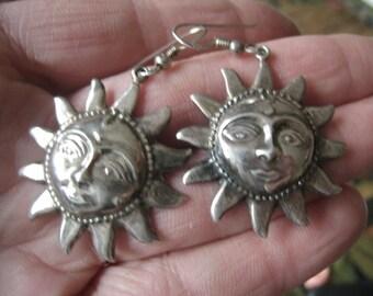 Sterling Silver Large Celestial Sun Dangle Earring (704)