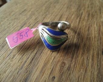 Sterling Silver Purple Green Enamel Ring Size 7.5 (558)