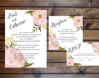 Blush Garden Peony Wedding Invitation Set