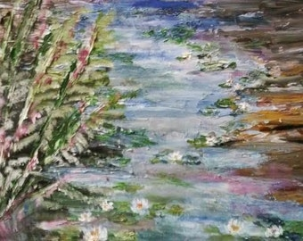 Water scene palette knife oil painting 11x14 - creek painting - Green and blue landscape painting - original oil painting -