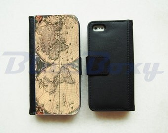 World Map Wallet Case for iPhone 7, iPhone 6, iPhone 6s, iPhone 6 Plus, iPhone 5, iPhone 5s, iPhone 4/4s, Leather Wallet Case, Flip Case