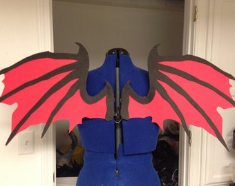 Realistic Black and Red Dragon Cosplay Wings